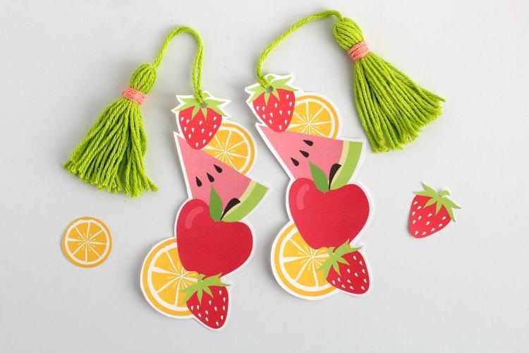 DIY printable fruit bookmark with tassel   Free printable bookmark template