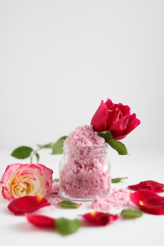 Rose sugar scrub recipe with essential oils