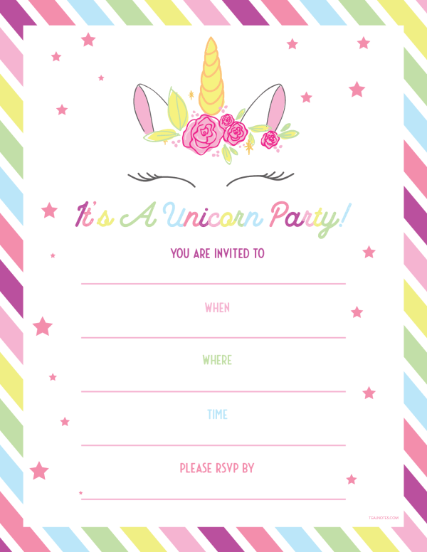 Unicorn template invitations