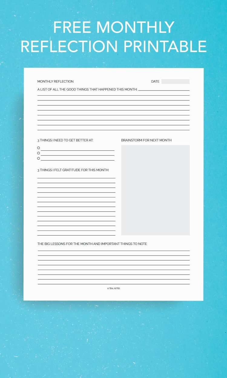 Free monthly reflection printable