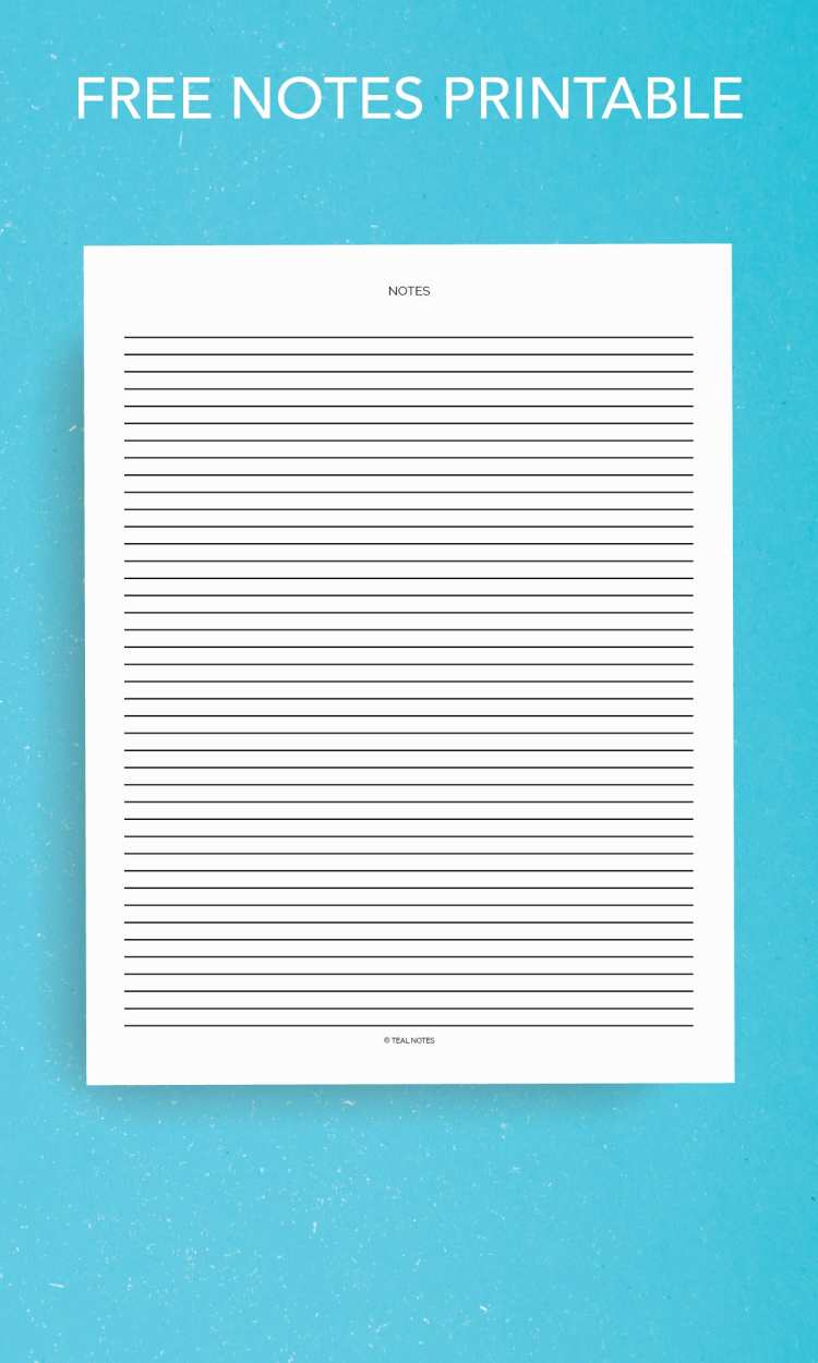 Free Notes Printable Page