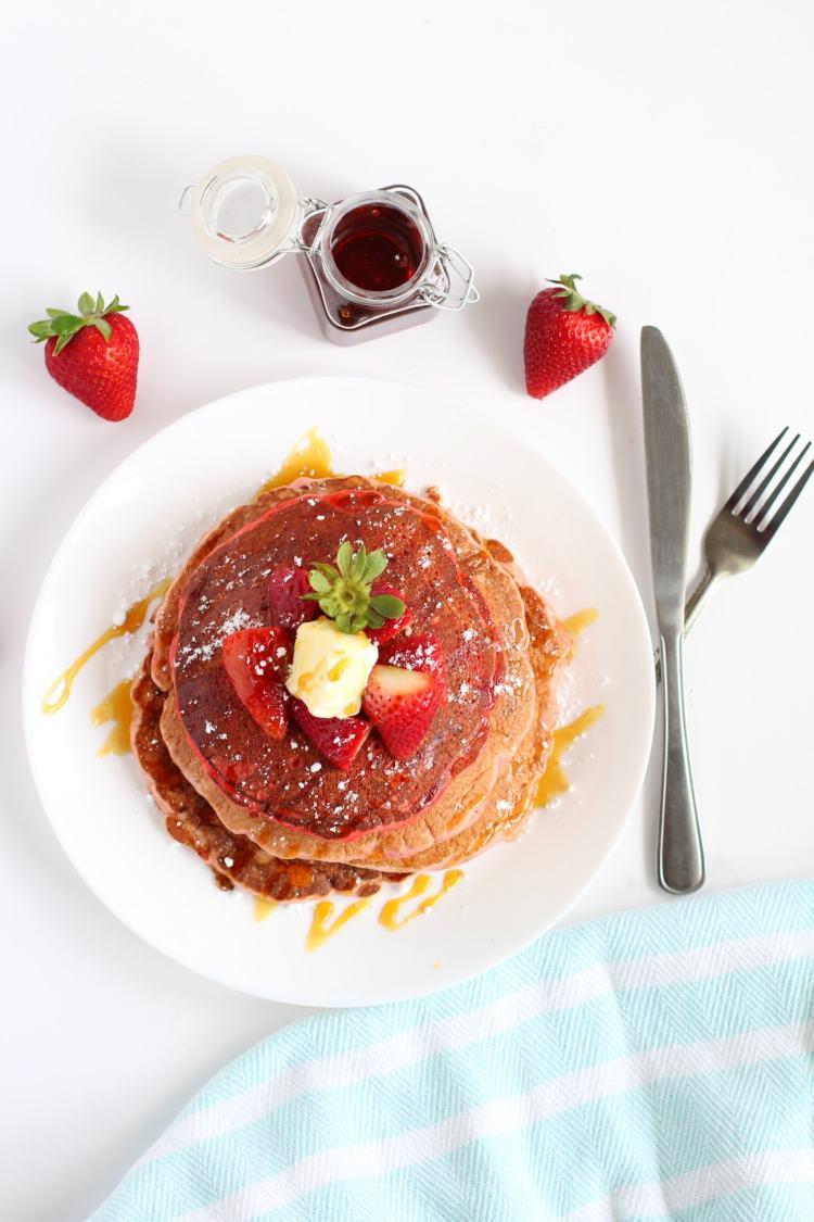 strawberry pancakes | How to make fluffy strawberry pancake recipe