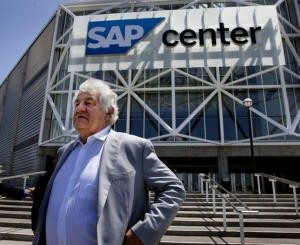 San Jose Sharks majority owner, Hasso Plattner, waits for the start of a press conference as the Sharks announced a lease extension and arena improvements at SAP Center in San Jose, Calif., Friday, May 7, 2015. (Patrick Tehan/Bay Area News Group)