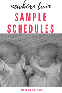 Newborn Twin Schedules. Sample schedules for newborn twins and tips to get your twins on a schedule. #twins #newborntwins #twinschedule #newborntwinschedule #babywise #babywiseschedule #babywisetwins #eatplaysleep #eatwakesleep Team-Cartwright.com