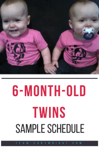 Trying to figure out nap and feeding times with your twins? Here is a sample schedule for 6-month-old twins (plus their 3 year old brother!) #twins #schedule #babywise #naps #breastfeeding #sample Team-Cartwright.com