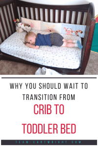 There is no need to rush the transition from crib to toddler bed!  It is okay to wait until your child is 3 or older.  Here are all the reasons we waited to make this big chance. #toddler #crib #bed #sleep #transition #milestone #discipline Team-Cartwright.com