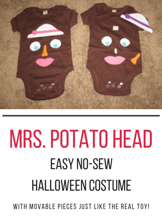 Easy DIY No-Sew Mrs. Potato Head Halloween Costume! Make a sweet Halloween costume on budget with no sewing required. The face pieces can actually be moved around like the real toy! #Halloween #costume #baby #toddler #nosew #easy #DIY #Potato #head Team-Cartwright.com