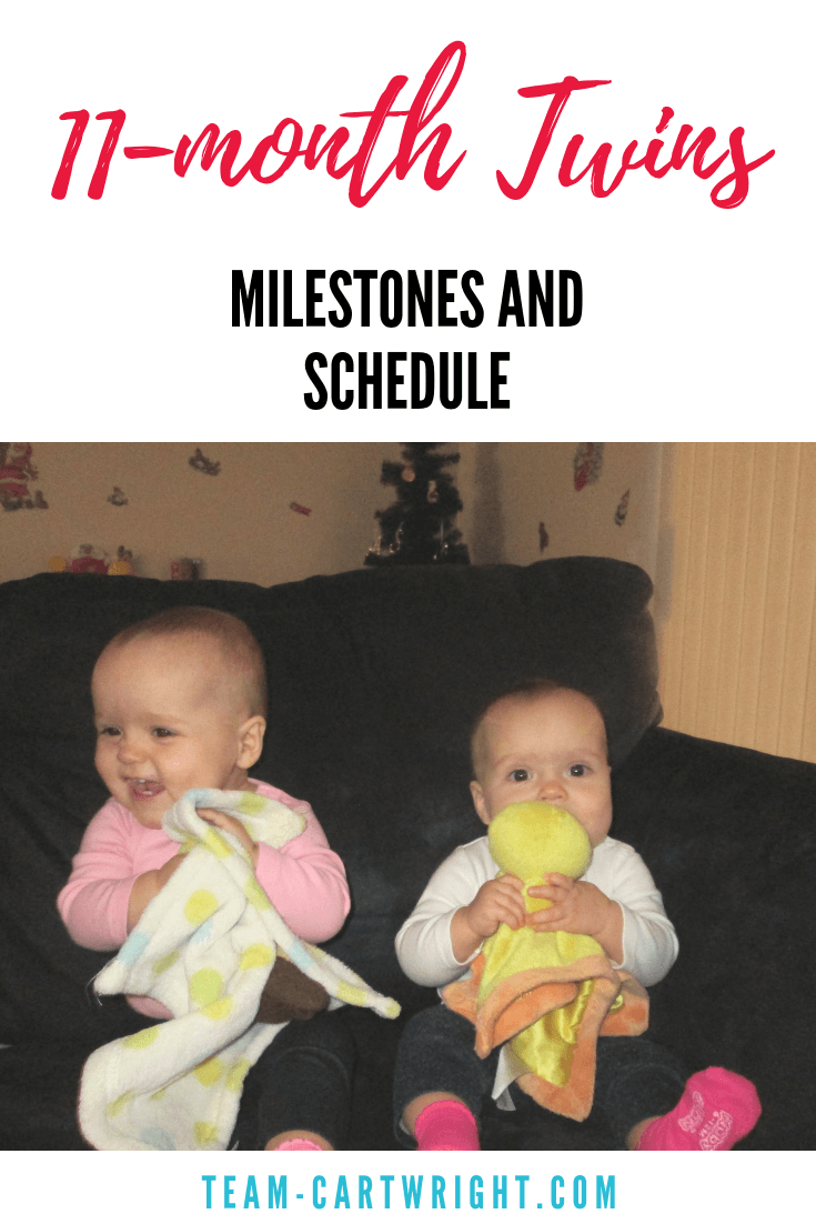 11 month old twin schedule!  Learn what milestones twins hit at 11 months and get a real life twin schedule. #TwinSchedule #11Months #Twins #Baby #infant #Babywise #BabywiseSchedule #TwinMileston #BabywiseTwins Team-Cartwright.com
