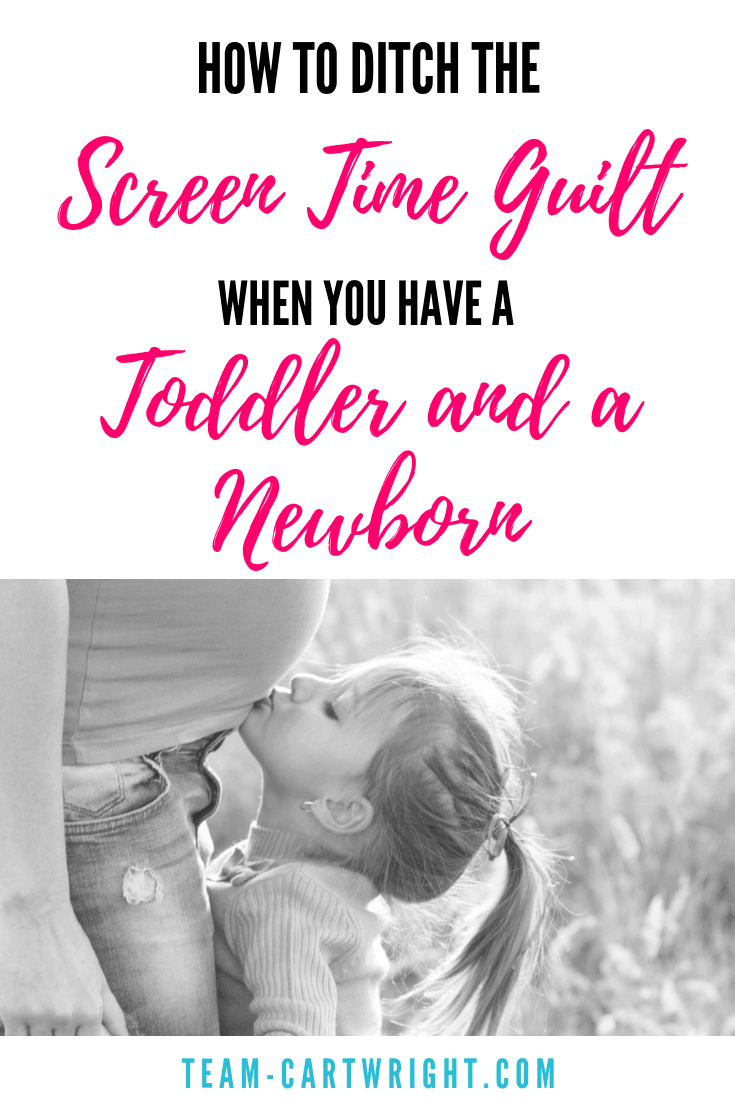 Do you have a toddler and a newborn? Have you found yourself using screen time more than you would like?  That's okay, it's just a season.  Learn how to turn this into positive learning time and ditch the guilt. #ScreenTime #MomGuilt #LearningActivity #ToddlerandNewborn #Newborn #Toddler #pregnancy Team-Cartwright.com