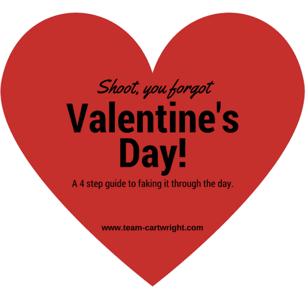 Shoot, you forgot Valentine's Day!  A 4 step guide to faking it through the day.