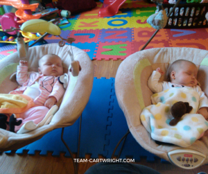 Bay bouncers for twins- One of the must haves for newborn twins. #twins #gear #newborn