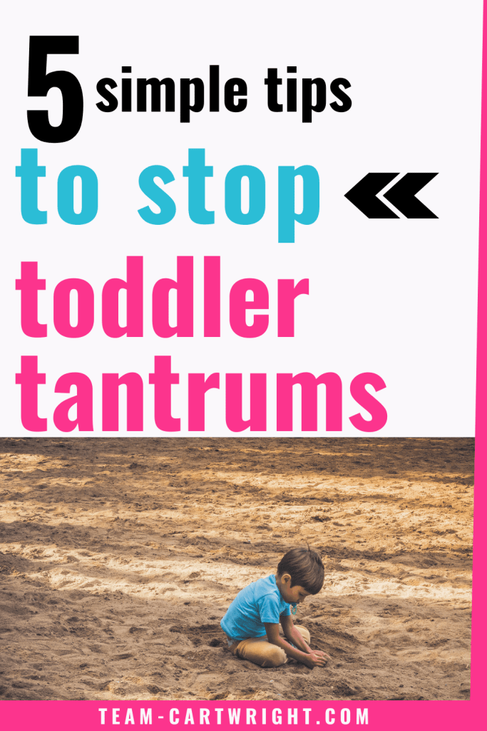 5 simple tips to stop toddler tantrums with image of toddler pouting in sand