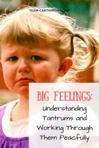 Looking for a way to turn tantrums into a learning opportunity? Here is how to handle talk through big feelings and diffuse tantrums peacefully. Tantrums   Feelings with kids   Handle Tantrums   Toddler Tantrums   Preschool Feelings #tantrums #toddler #preschooler #feelings #kids #positive #peaceful #parenting Team-Cartwright.com