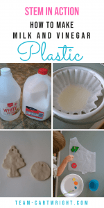 How to make plastic from milk and vinegar, a fun STEAM project showing chemical reactions. Plus three more fun STEM activities for kids! #STEAM #craft #STEM #science #project #preschool #kids #homeschool Team-Cartwright.com