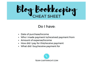 How to organize your blog bookkeeping info cheat sheet.