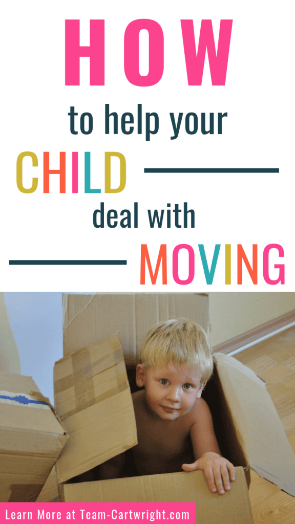 How to help your child deal with moving with picture of child in cardboard box
