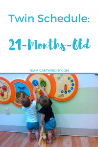 Looking for a sample schedule for your toddler twins? Check out this 21-months-old schedule for toddlers and toddler twins.
