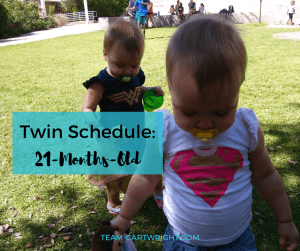 Looking for sample schedules? Here is our twins 21-months-old schedule. #Toddler #schedule #twins