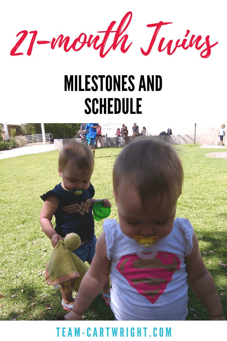 21-month-old twins schedule and milestone.  Get a peek into a day in the life with toddler twins and get a sample twin schedule for a one year old. #Twins #TwinSchedule #ToddlerTwins #SampleSchedule #Babywise #BabywiseTwins Team-Cartwright.com