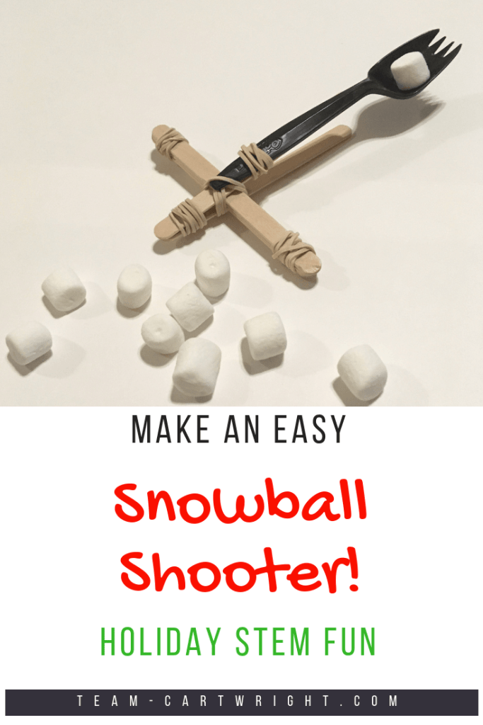 Have a snowball fight inside and learn from it! Learn about kinetic and potential energy, while firing safe snowballs off. Get this activity and more easy and fun Christmas science experiments! #christmas #holiday #science #STEM #learning #activity #experiment Team-Cartwright.com
