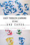 Teach your toddler and preschooler number sense, counting, sorting, colors, and more with just Uno Cards. Easy and fun learning. #toddlerlearning #preschoollearning #coloractivity #sortingactivity #numbersense #countingactivity #easytoddleractivity #easypreschoolactivity #nomesslearning #noprepnumberactivity #homeschooltoddler #preschoolathome Team-Cartwright.com