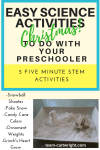 Looking for some easy science to do with your kids this holiday? Check out these five activities that can be set up in 5 minutes or less. They are perfect for some holiday fun! #preschool #STEMKids #ChristmasSTEM