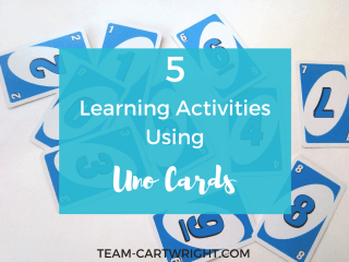 Use Uno cards in a whole new way! Encourage your children to learn with these 5 activities.