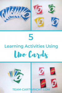 Want some easy no fuss learning activities for your children? Grab some Uno cards! Here are 5 learning activities using Uno cards. #preschool #toddler #learningactivity