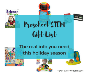 STEM gifts for your preschooler that meet all your needs- quiet toys, kits, fancy toys, and more. #STEM #preschool #GiftList