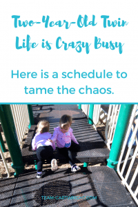 Two-Year-Old twin life is crazy busy. Here is a schedule to tame the chaos. #toddler #twin #sample #schedule #sleep