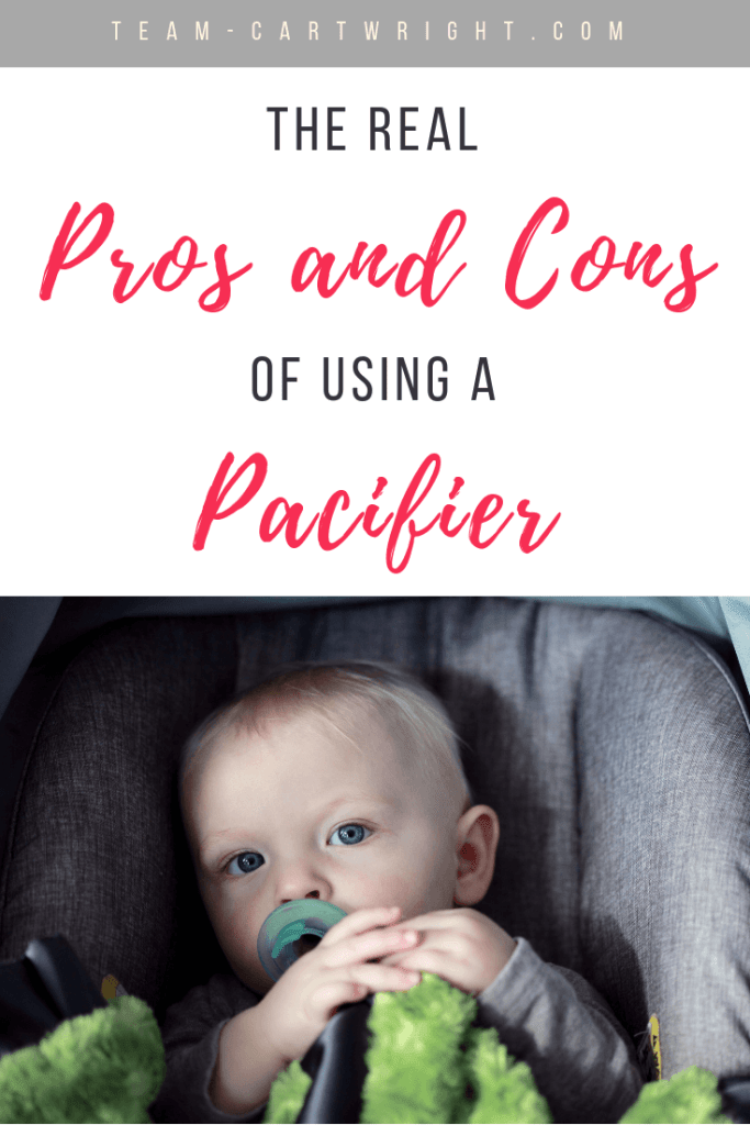 Are you for or against pacifiers? Unsure where you stand? For such a tiny object they sure bring up big opinions. Here are the pros and cons of pacifier use for your baby. #Pacifiers #PacifierBaby #Baby #BabySoothing #BabySleep #SleepProps #Babywise #BabywiseSleep #BabywisePacifier #TwinsPacifier #PacifierProsandCons Team-Cartwrigh.com