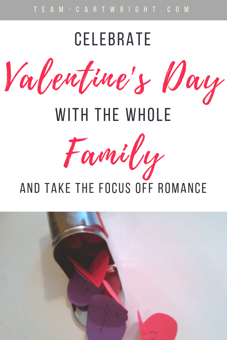 Valentine's Day doesn't have to just be about romance. Learn how to get the whole family involved and teach your kids they don't need a boyfriend or girlfriend to enjoy the day.  Share the love with this simple family activity and craft! #ValentinesCraft #ValentinesKid #ValentinesToddler #HateValentinesDay #FamilyValentines Team-Cartwright.com