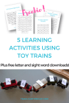 5 learning activities using toy trains.
