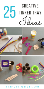 25 creative tinker tray ideas for kids. Help your preschoolers and toddlers explore and practice some basic STEM skills with these mystery tinker bag and tray fillers. #tinker #tray #ideas #kids #STEM #creative #activity Team-Cartwright.com