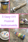 5 Easy DIY musical instruments to make with your children. Kids love music, and learning music helps build STEM skills! Practice counting, learn rhythms, and recognize patterns with these easy to make instruments. This is perfect for babies, toddlers, and preschoolers. Toddler Activity   Preschool Activity   Music Activity for kids   Music and STEM craft #music #STEM #activity #preschool #toddler #baby #kidcraft #musiccraft #STEMactivity Team-Cartwright.com