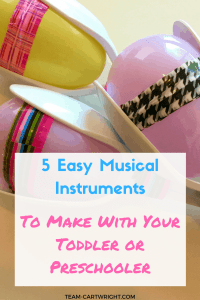 5 Easy DIY musical instruments to make with your children. Kids love music, and learning music helps build STEM skills! Practice counting, learn rhythms, and recognize patterns with these easy to make instruments. Looking for a fun activity for your baby and toddler? This is perfect! Toddler Activity | Preschool Activity | Music Activity for kids | Music and STEM craft #activity #preschool #toddler #baby #kidcraft #musiccraft #STEMactivity #familyfun #sibling #music #STEM Team-Cartwright.com