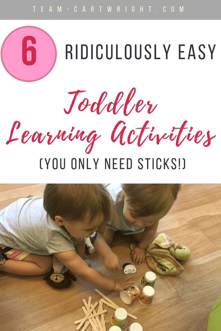 6 ridiculously easy toddler learning activities using craft sticks! Seriously, toss some sticks into your purse and you are ready to entertain your toddler anywhere. Fun, simple, and educational. Wins! #ToddlerLearning #LearningActivities #CraftSticks #OnTheGoLearning #OnTheGoActivities #MomHack #ParentingHack Team-Cartwright.com