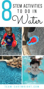 8 fun and easy STEM activities to do in the water! Sensory fun with no prep needed. Teach your kids about fun concepts like sound, waves, and why boats float! #sensory #activity #STEM #water #toddler #preschooler #kids #learning #science #easy Team-Cartwright.com