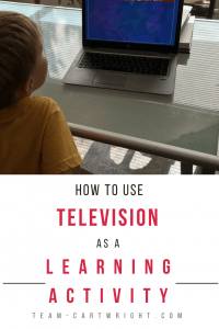 How to use television as a learning activity. Sometimes the tv needs to be on, but that doesn't mean you can't add in learning. Here is how to us screen time to your advantage, plus educational shows to check out. #screen #time #learning #activity #pregnant #newborn #toddler #television #kids Team-Cartwright.com