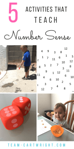 5 Activities to Teach Number Sense. Easy and fun games to play with your kids to help boost math success. Plus free printables to do them at home! #number #sense #learning #activity #printable #preschool #toddler #math Team-Cartwright.com