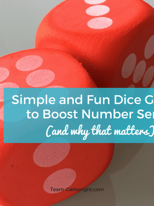 Simple and Fun Dice Games to Boost Number Sense! Help your preschooler and toddler really understand numbers through easy and fun games. Plus, learn why number sense is important for future math success. #learning #activity #numbers #counting #sense #toddler #preschool Team-Cartwright.com