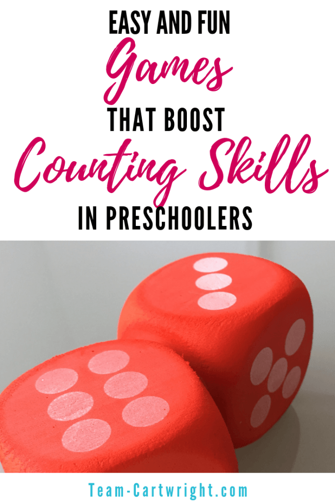Easy and fun games the boost counting skills in preschoolers! Help your preschooler work on number sense with these simple and fun games. (Plus get some free printables!) #NumberSense #LearningGames #CountingGames #preschool #HomeschoolMath #PreschoolMath #PreschoolLearning Team-Cartwright.com