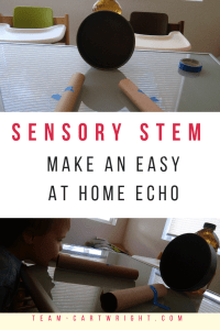 Show your children how echoes work at home! Use household items to learn about sound waves and how an echo is created. #science #STEM #learning #activity #toddler #preschool #kids #kindergarten #easy #DIY #echo #sound Team-Cartwright.com