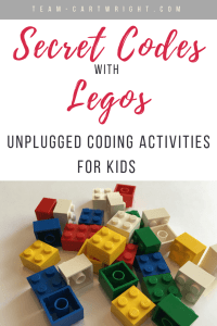 Learn how to make secret codes with Legos! What your kids are really learning are coding basics. Unplugged coding fun for preschoolers and kids! #Coding #CodingforKids #Legos #LegoCoding #SecretCode #SecretMessage #LearningActivity #STEM #ComputerScience #Science #Preschool Team-Cartwright.com