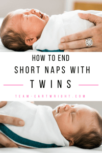 How to end short naps with twins. Tackle the 45 minute intruder with your twins with strategies from a fellow twin mom. Your twins will nap. #naps #twins #babywise #45 #minute #intruder #sleep #problems #schedule Team-Cartwright.com