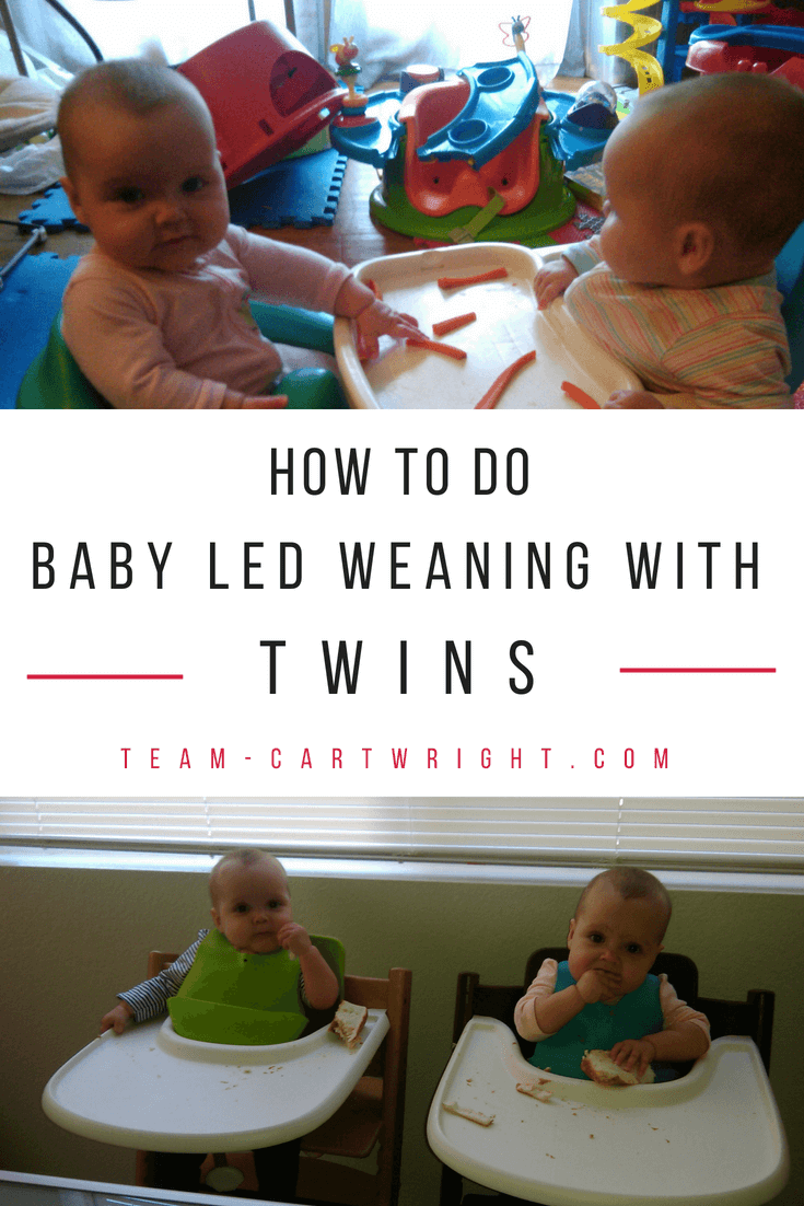 How to do Baby Led Weaning with twins. Introduce solids with this fun and messy method that lets the whole family eat together. #BLW #baby #led #weaning #twins #solids #food #eating Team-Cartwright.com