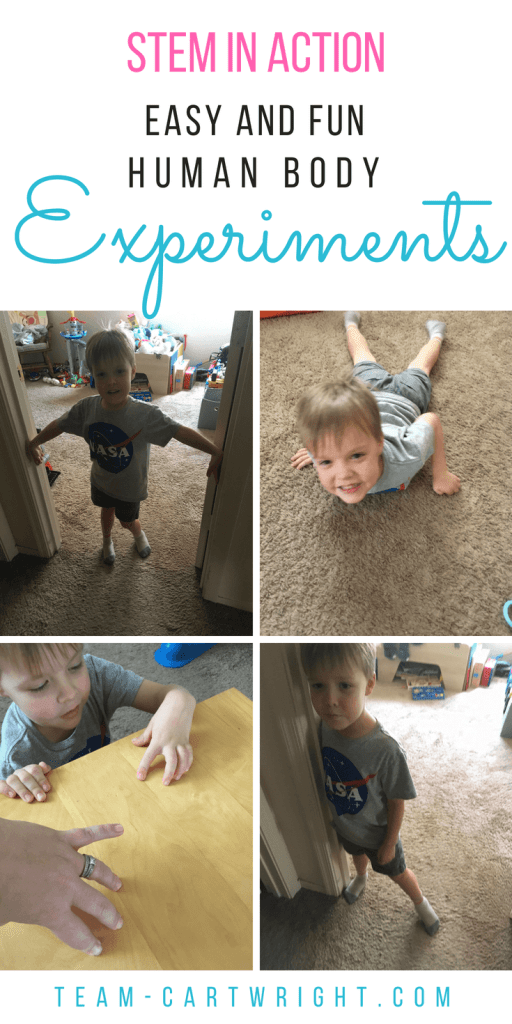 5 Easy and Fun Human Body Experiments! Wow your kids with activities that challenge perception and muscle behavior. Safe, fun, and really cool. Plus get all the explanations as to what is happening! Five minute science. #science #stem #learning #activity #kids #preschool #body #tricks Team-Cartwright.com