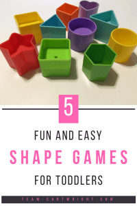 5 fun and easy shape games for toddlers. Shapes are very important for early learning skills! Recognizing them helps lead to literacy skills. Here are 5 super easy ways to practice shapes with your toddler. #shapes #shapelearning #toddler #toddleractivity #homeschool #preschool Team-Cartwright.com
