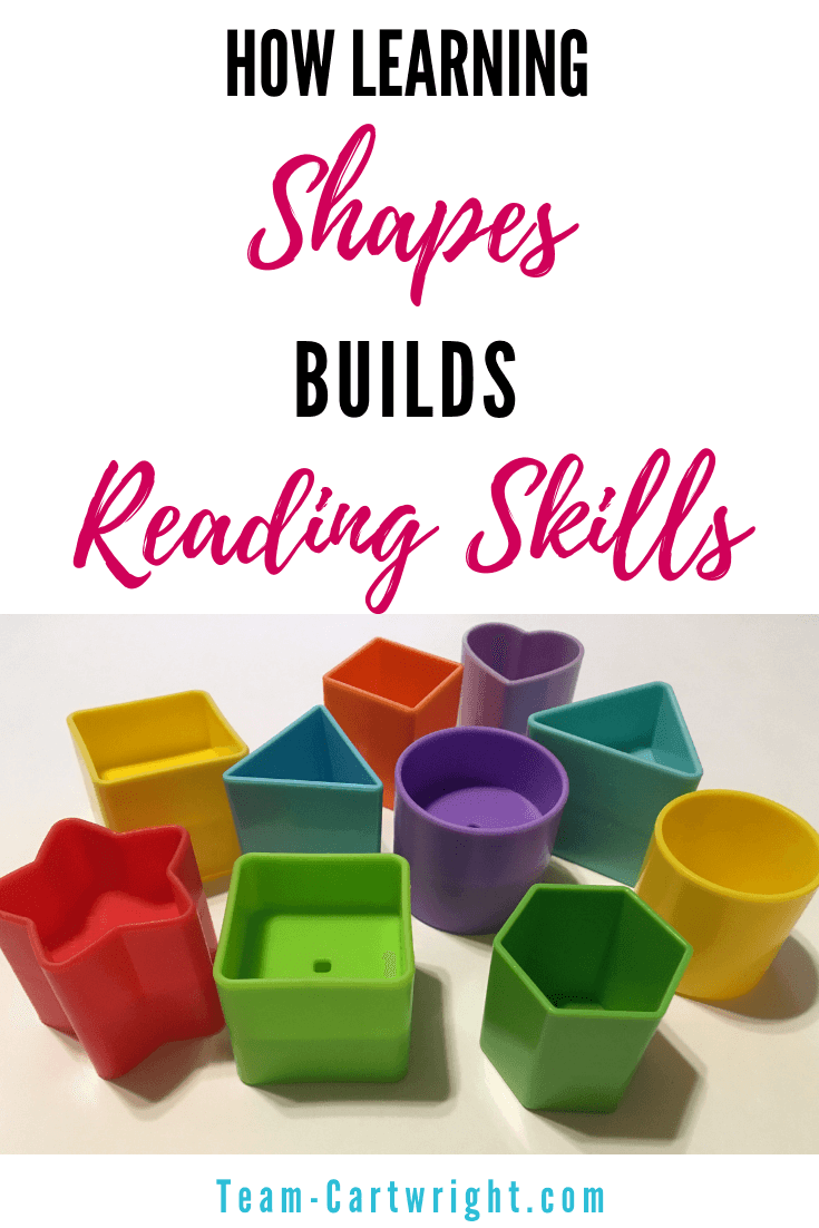 Did you know learning shapes is the start to reading? Yep, recognizing things like triangles and circles leads to recognizing letters and words! Learn why shapes are so important for toddlers and preschoolers and get a free printable to work on them at home! #Shapes #ToddlerLearning #PreschoolLearning #ReadingSkills #WritingSkills #FreePrintable #ShapeActivity Team-Cartwright.com