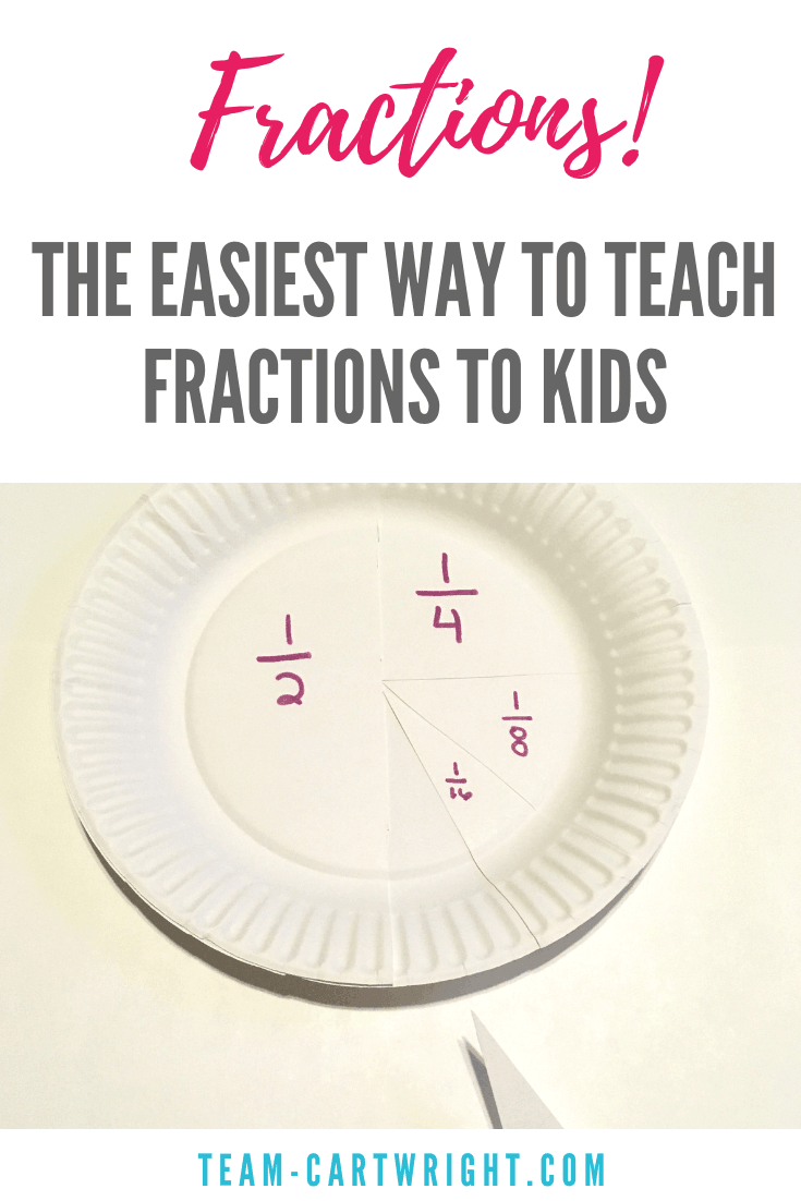 This is the easiest way to teach your child fractions. Paper plate fractions are easy and fun, and they are great for all ages! Work on math while you play! #MathActivity #Fractions #PaperPlateCraft #PreschoolLearning #STEMActivity #EasyLearning Team-Cartwright.com